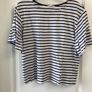 Zara striped top with bell sleeve.